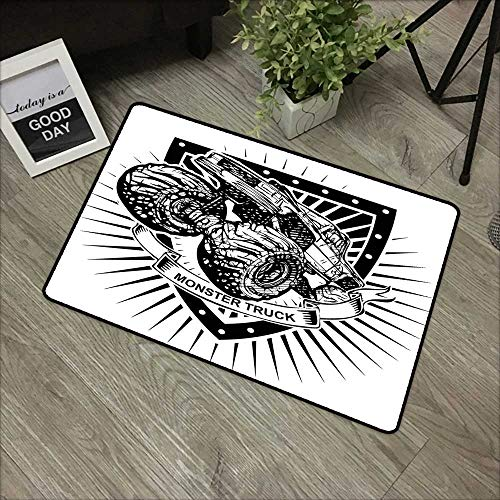 (Clear printed pattern door mat W31 x L47 INCH Modern,Munster Truck Logo on Shield Flag Pattern Artisan Speed Sports Hobby Illustration,Black White Easy to clean, no deformation, no fading Non-slip Doo)