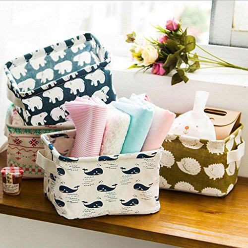 ONLINE Linen Desk Storage Box Holder Jewelry Cosmetic Stationery Organizer Case