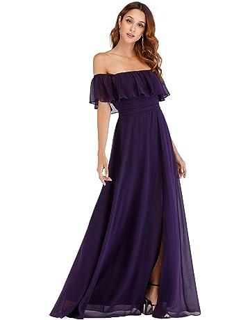 539112547f Ever-Pretty Womens Off The Shoulder Ruffle Party Dresses Side Split Beach  Maxi Dress 07679