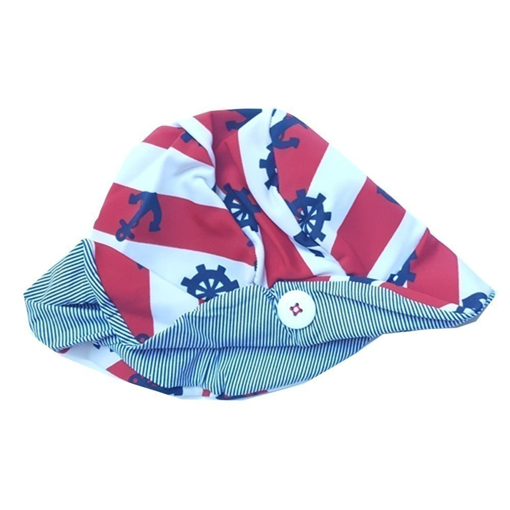 Big Girls Navy Red Nautical Stripe Anchor Print Button Detail Sun Hat 12/14