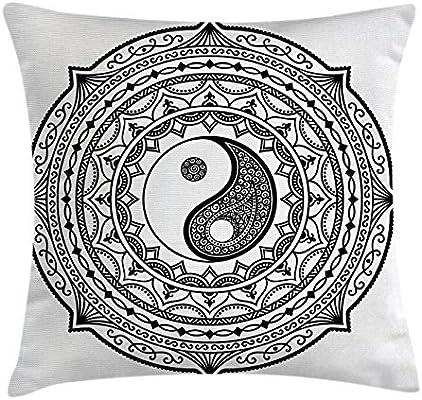 Amazon.com: TINA-R Ying Yang Decor Funda de cojín, patrón ...