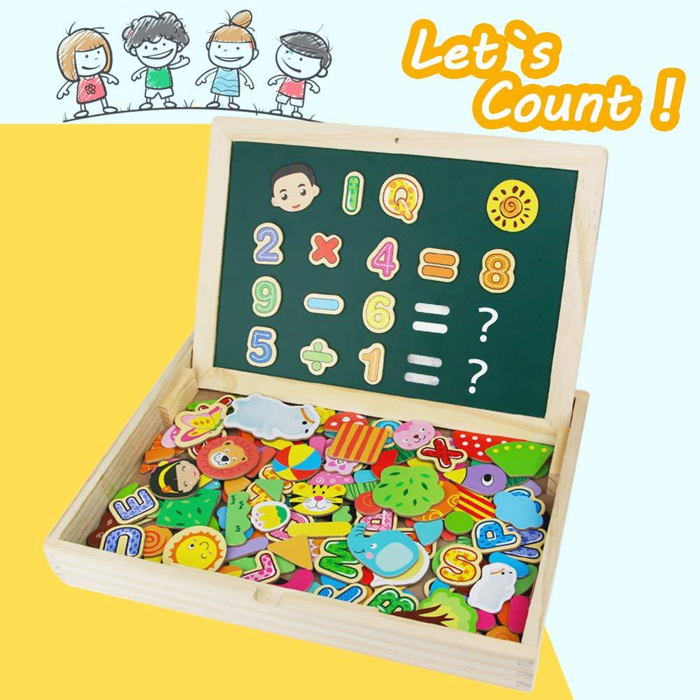 Puzzles Rompecabezas Magnéticos de Madera Dibujo Juguete Educativo Doble Cara El mejor regalo para Niños Niña 3 4 5