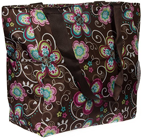 (Print Shopper Beach Tote Bag (Brown Flower))