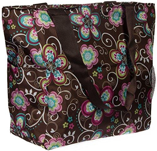 Print Shopper Beach Tote Bag (Brown Flower) ()