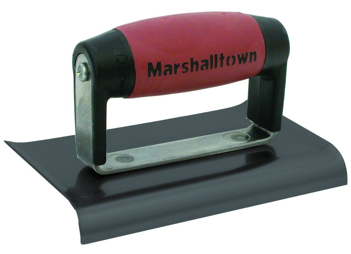 MARSHALLTOWN The Premier Line 138BD 6-Inch x 4-Inch Blue Steel Edger-Curved Ends 1/2-Inch Radius, 5/8-Inch Lip-DuraSoft Handle