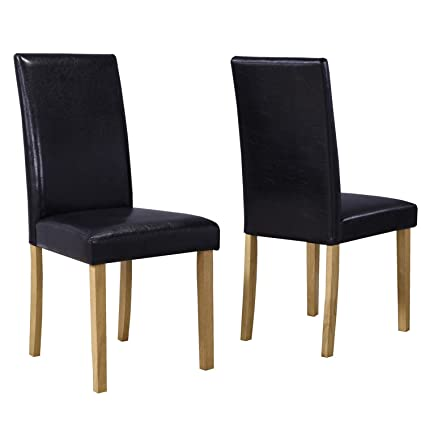 Surprising New Haven Set Of 2 Black Faux Leather Dining Chairs Pabps2019 Chair Design Images Pabps2019Com