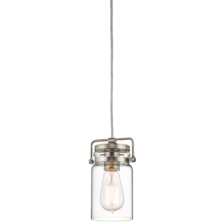 kichler lighting 42878ni brinley 1lt mini pendant brushed nickel finish with clear glass shade amazoncom awesome designing clear glass mini pendant lights