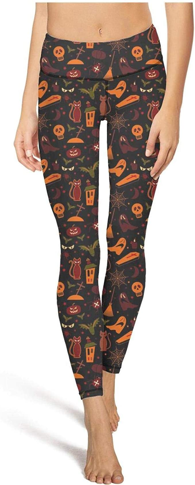 Girl Yoga Pants Halloween cat Ghost Super Soft Yoga Leggings with Pockets
