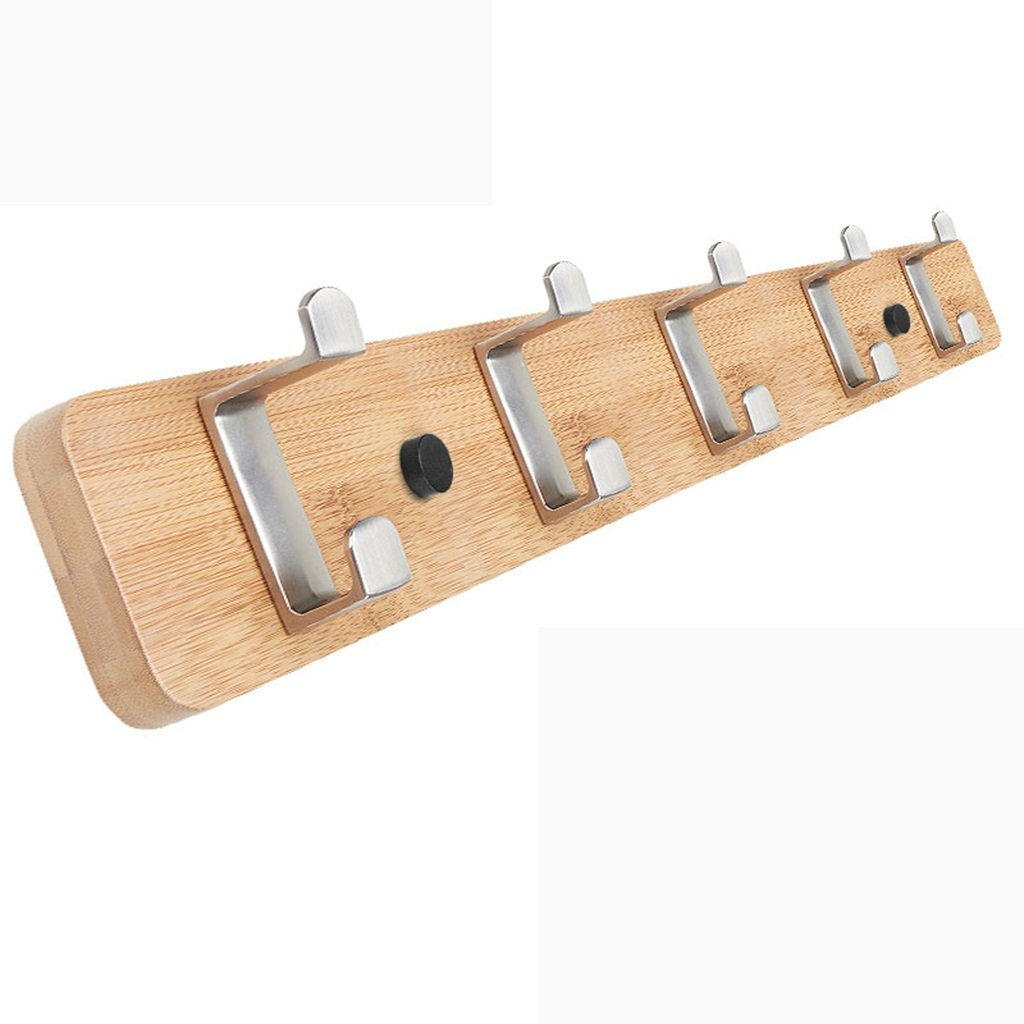 Creative Clothes Hat Hanger Living Room Bedroom Strong Load-bearing Hanging Hook ( Color : Bamboo , Size : 5 hook )