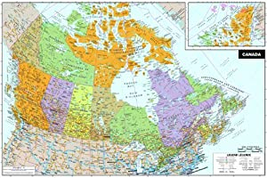 Wall Pops WPE0255 Canada Peel and Stick DryErase Map Decorative