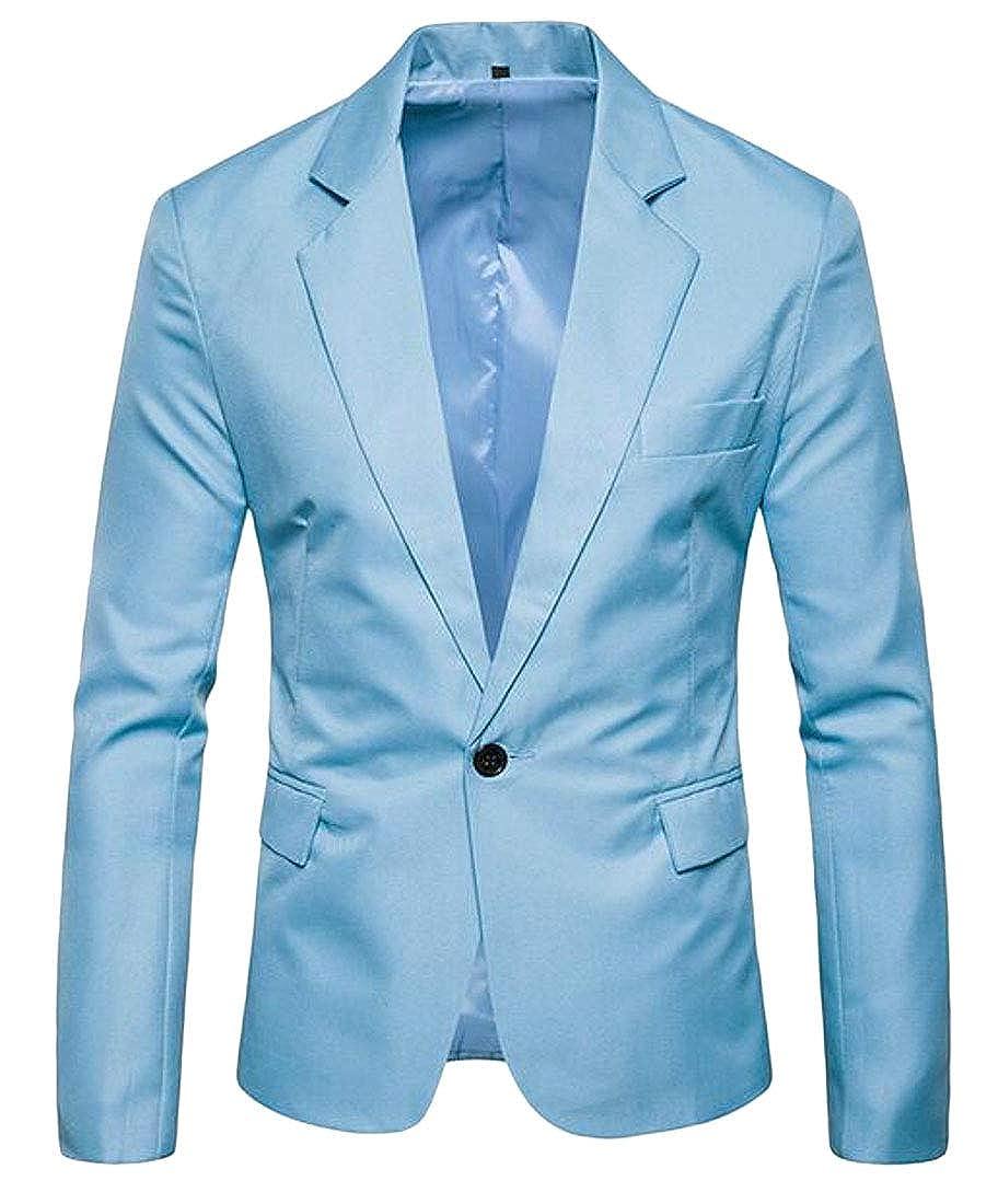 Etecredpow Mens Business One Button Slim Fit Sport Coat Blazer Suit Jacket