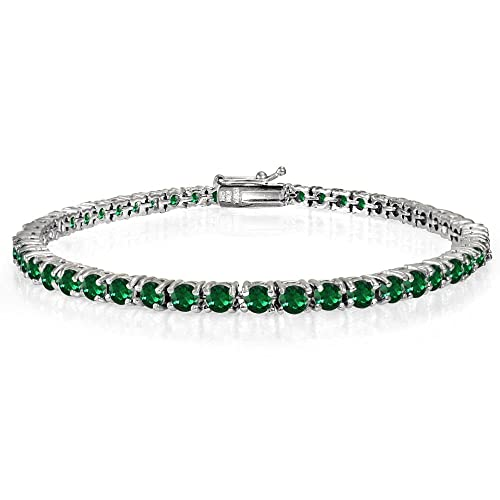 Ice Gems Sterling Silver Created Ruby, Sapphire or Emerald Gemstone 3mm Round Tennis Bracelet