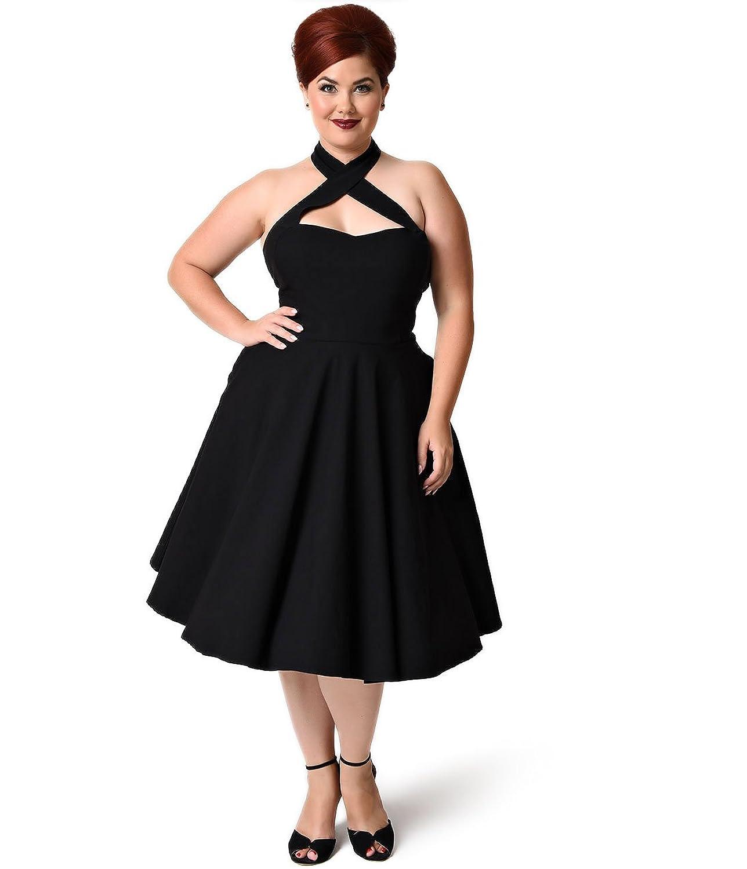 89d93a64054c Amazon.com: Unique Vintage Plus Size 1950s Style Black Criss Cross Halter  Flare Rita Dress: Clothing