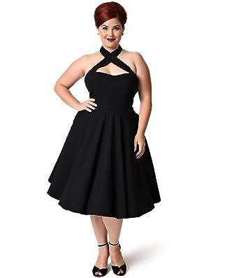 3ad32bf50f1a Unique Vintage Plus Size 1950s Style Black Criss Cross Halter Flare Rita  Dress