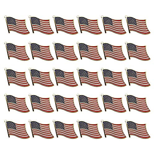 30PCS American Flag Pins United States Waving Patriotic Enamel Stars and Stripes Lapel Badge Pin by SkyCooool