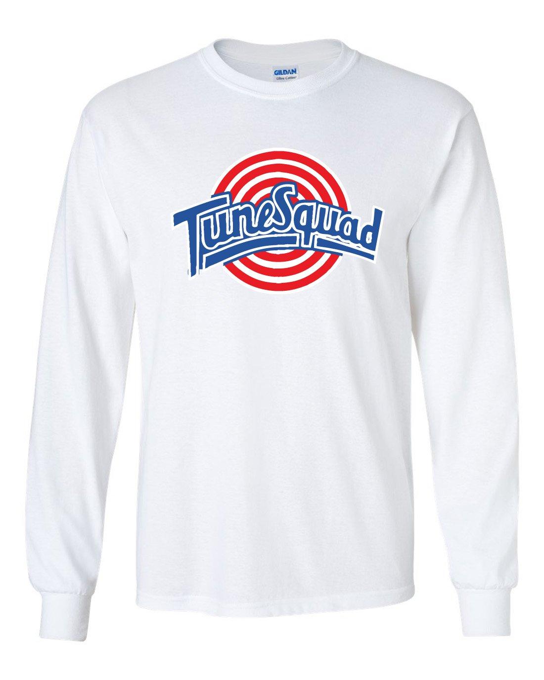The Silo LONG SLEEVE White Spacejam Tunesquad ''Jordan'' Front & Back T-Shirt ADULT