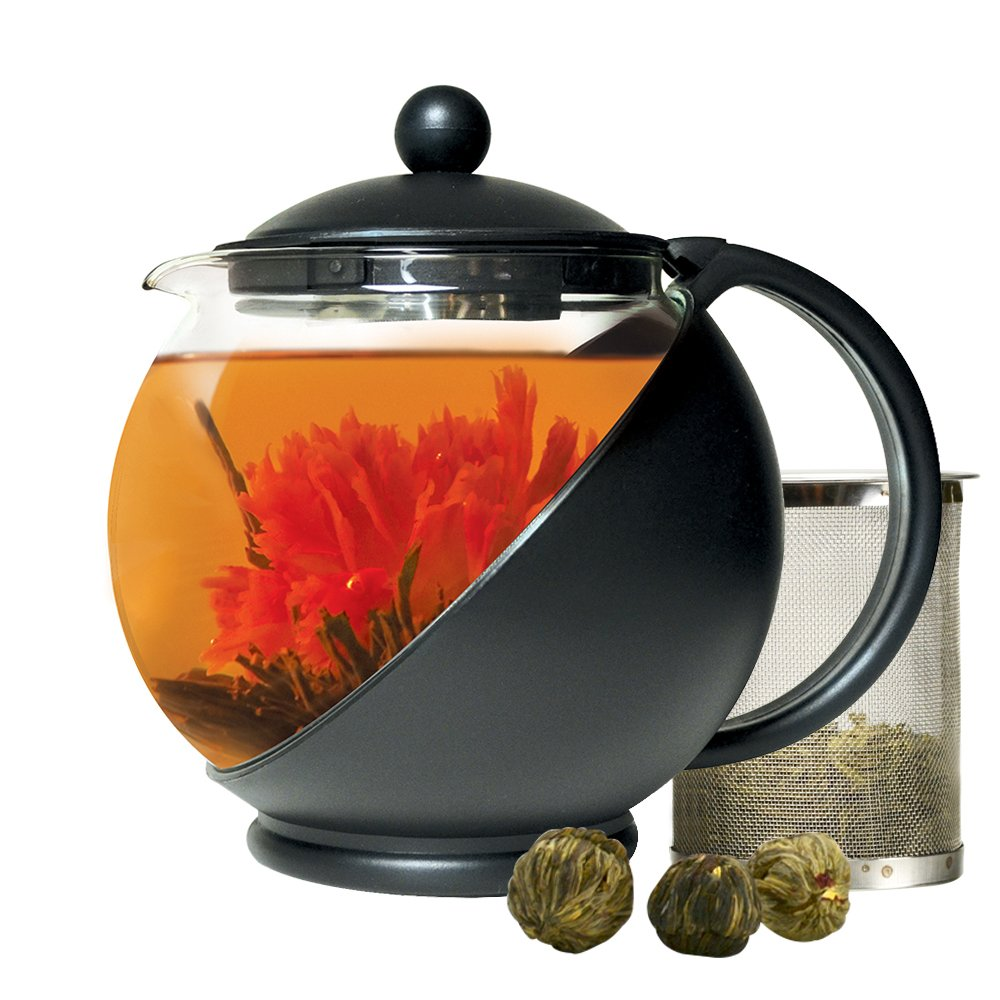 Primula Half-Moon Teapot for Flowering Tea Set - Wide Mouthed Temperature Safe Glass - 40 oz. - Clear Glass with Black Accents - Includes 3 Flowering Teas - Dishwasher Safe by Primula