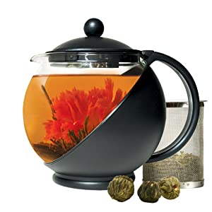 Primula Half-Moon Teapot for Flowering Tea Set – Wide Mouthed Temperature Safe Glass – 40 oz. – Clear Glass with Black Accents – Includes 3 Flowering Teas - Dishwasher Safe