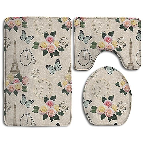 Guiping French Eiffel Tower Shabby Chic Garden Roses Butterfly Flowers Leaves Artwork Bathroom Rug Mats Set 3 Piece,Funny Bathroom Rugs Graphic Bathroom Sets,Anti-skid Toilet Mat - Rug Shaped Butterfly