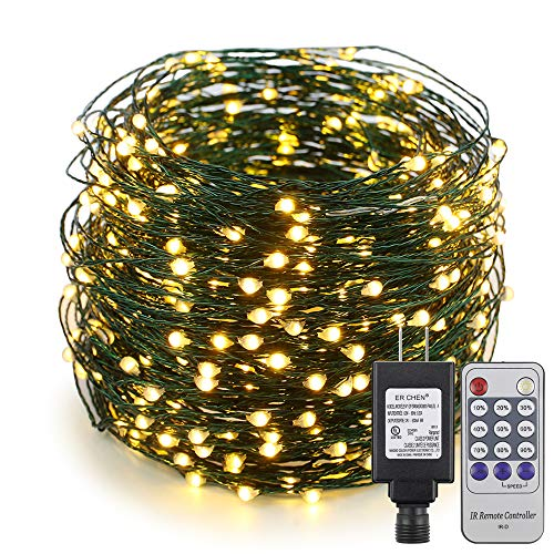 Lights 4' Spacing Green Wire - ER CHEN 165ft Led String Lights,500 Led Starry Lights on 50M Green Copper Wire String Lights Power Adapter + Remote Control(Warm White)
