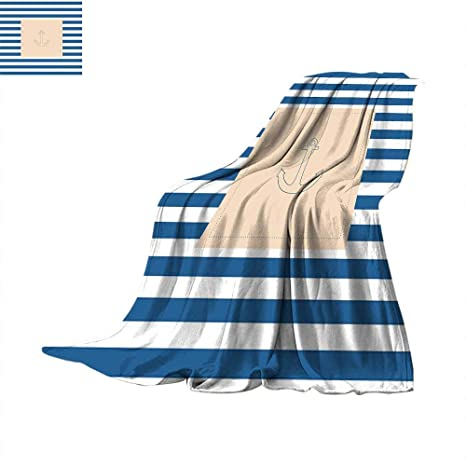 64706aca3b4 Amazon.com  Harbour Stripe Faux Fur Blanket Maritime Anchor Figure ...