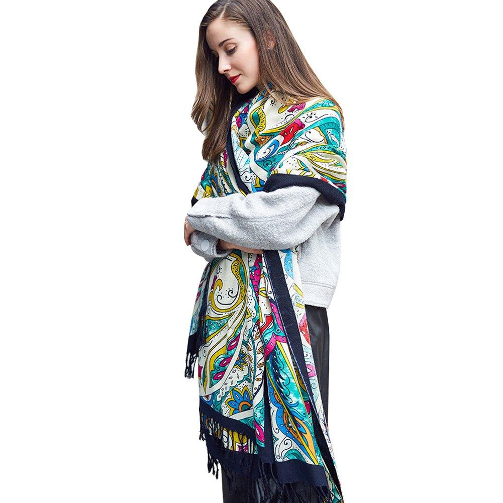 Black&Green DANA XU 100% Pure Wool Women Winter Large Scarf Pashmina …
