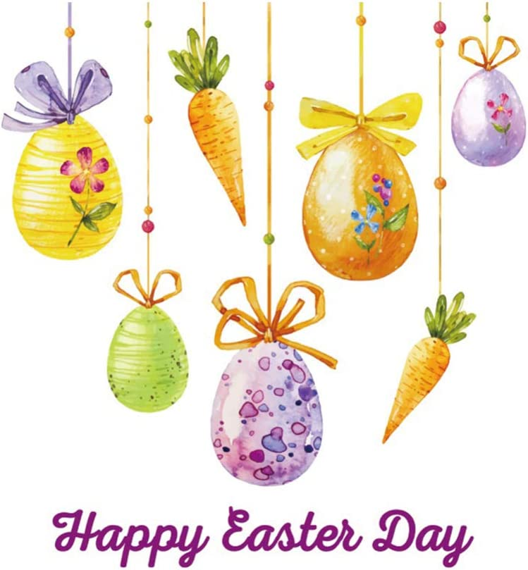 IMIKEYA Easter Photo Background Hanging Easter Eggs Carrots Pattern 150x120cm Easter Festival Party Television Wall Decoration Studio Prop