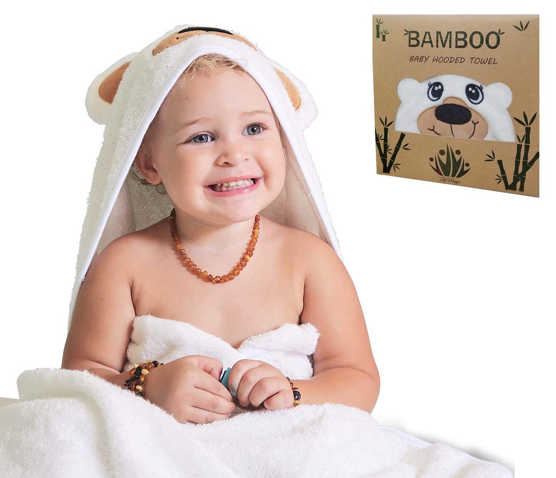Premium 100% Bamboo Baby Hooded Bath Towel by The LivMagic - with Unique Bear Face Design - Ultra Soft Hypoallergenic - Generous Size for Infants and Toddlers - Perfect Baby Shower or Birthday Gift