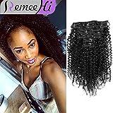 "Remeeehi Brazilian Virgin Hair Kinky Curly Clip In Hair Extension 7Pcs/set 70G (16"" 1#)"
