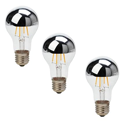 Ranpo - Bombilla LED de filamento vintage con forma de globo de plata, A60,