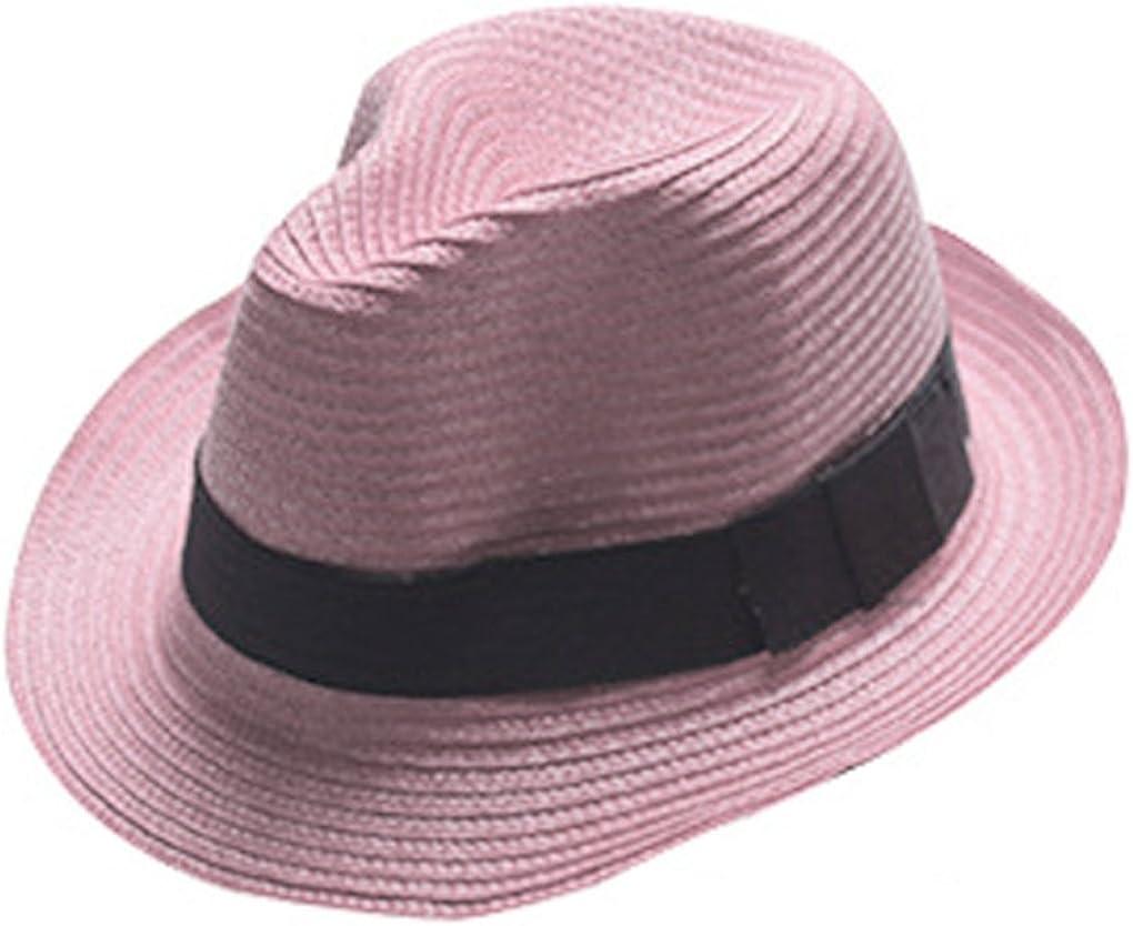 BOOLAVARD Mujeres de ala Ancha de Paja Panamá Enrollado Sombrero Fedora Beach Sun Hat UPF50 +
