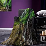 smallbeefly Waterfall Digital Printing Blanket Waterfalls side Valley in Indonesia with Southeast Asian Bushes above Hills Summer Quilt Comforter Green and Brown