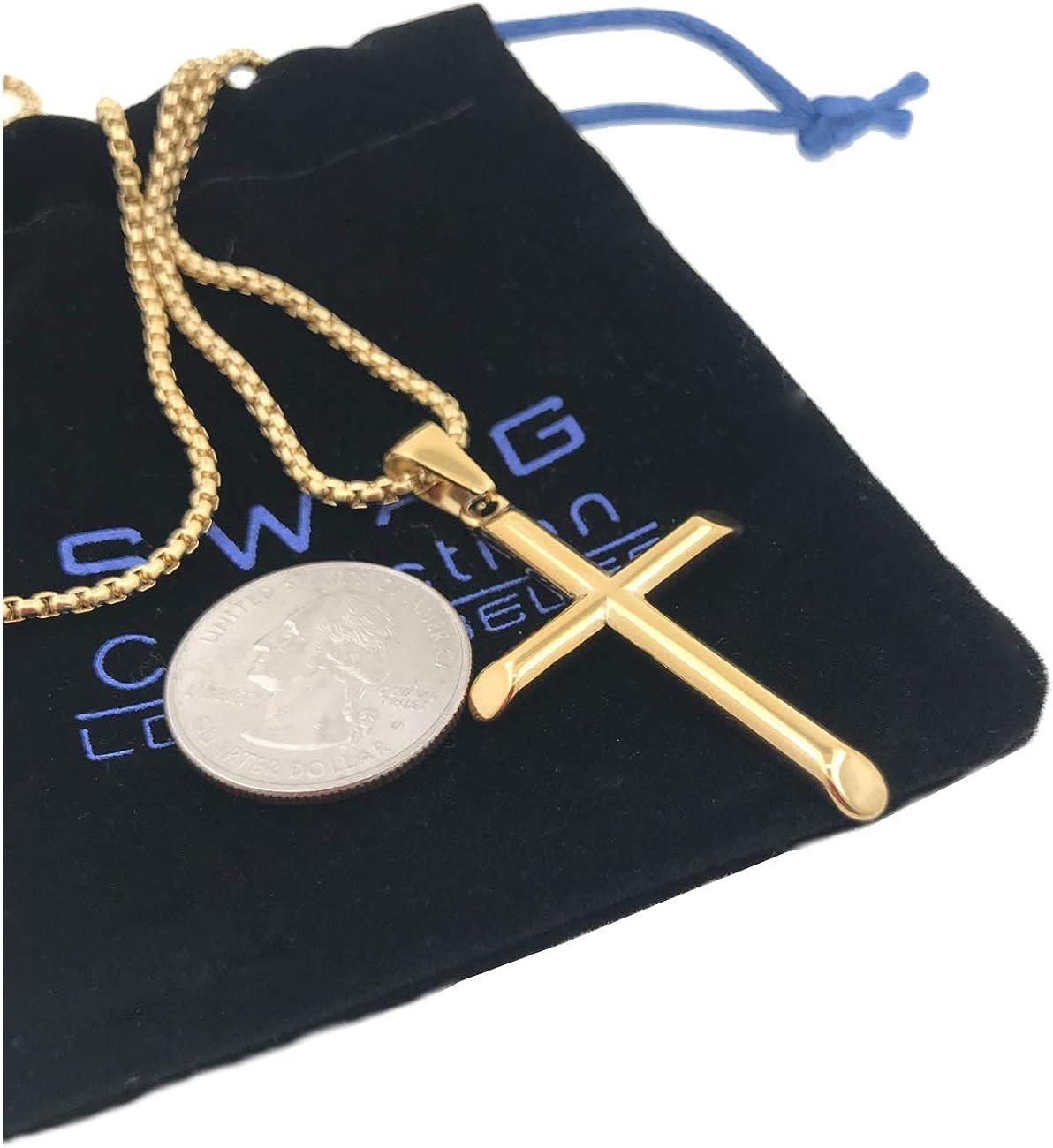 "100 80 60 40 20 0 Swag Collection Los Angeles Stay auf obere Gold Cross Crucifix und Necklace, 14 Kt (Karat) Gold Filled Overlay mit ein 22\"" Chain (Inch) Beautiful Jesus Cross Usa Made!"