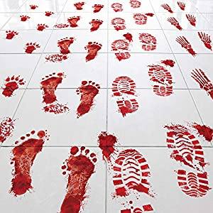 Key Largo Traders Bloody Footprints – Set of 50 Floor Clings – Includes Zombie Skeleton Werewolf Human Boot and Blood Splatter Decals for Halloween Party Decorations Supplies Props & Decor