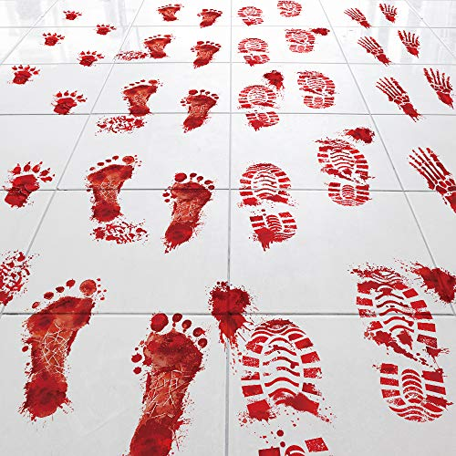 Key Largo Traders Bloody Footprints - Set of 50 Floor Clings - Includes Zombie Skeleton Werewolf Human Boot and Blood Splatter Decals for Halloween Party Decorations Supplies Props & Decor from Key Largo Traders