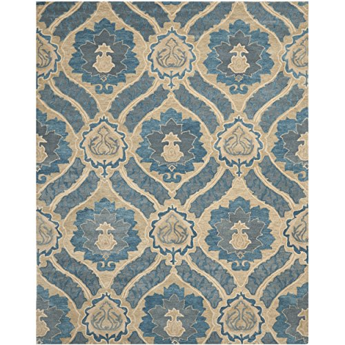 Safavieh Wyndham Collection WYD616A Handmade Blue and Grey Wool Area Rug, 8 feet 9 inches by 12 feet (8'9