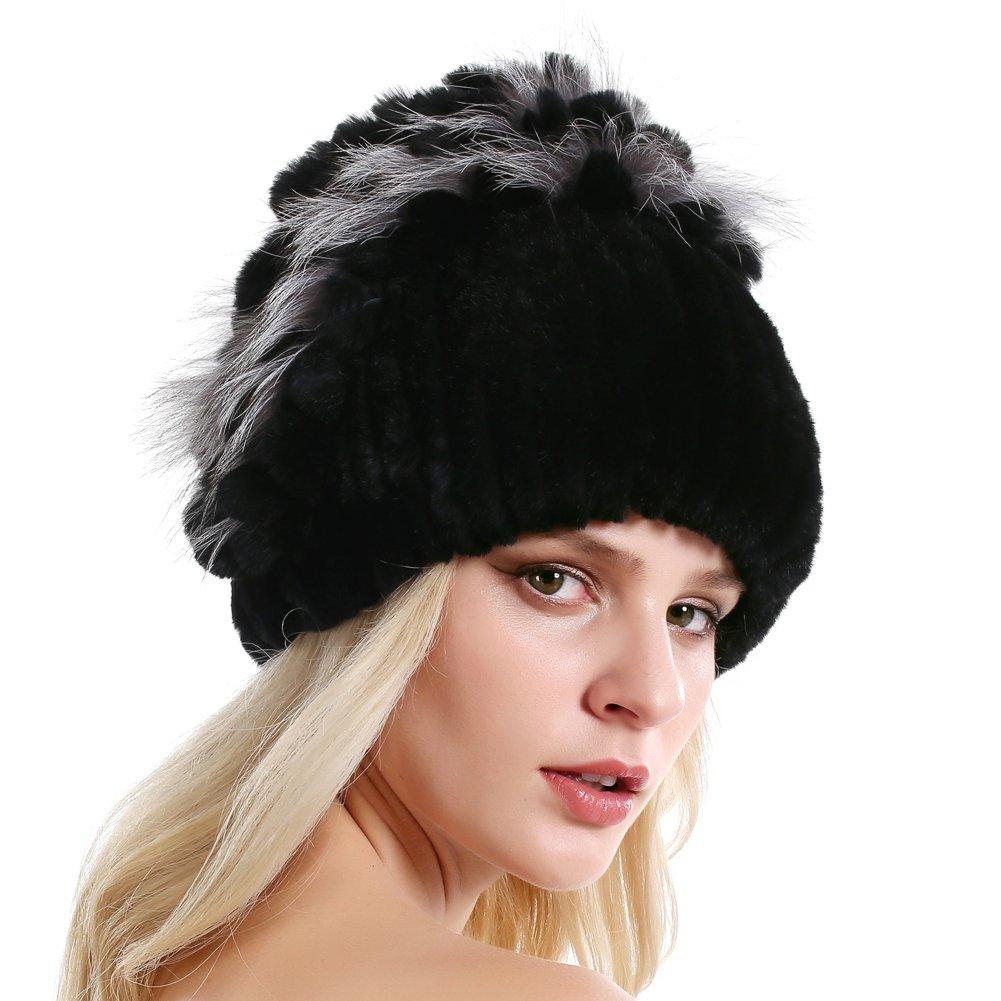 Rabbit Fur Hat - Winter Fashion Knit Hats Women Real Fur Warm Skullies Beanie (Color5)