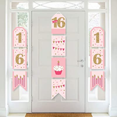 Big Dot of Happiness Sweet 16 - Hanging Vertical Paper Door Banners - 16th Birthday Party Wall Decoration Kit - Indoor Door Decor: Health & Personal Care