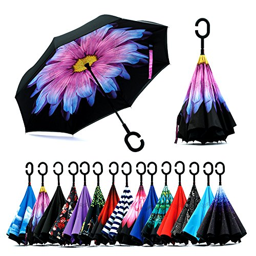 - Spar. Saa Double Layer Inverted Umbrella with C-Shaped Handle, Anti-UV Waterproof Windproof Straight Umbrella for Car Rain Outdoor Use