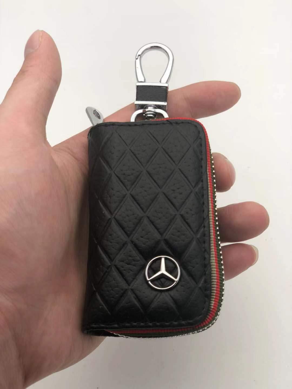 Black DEFTEN The Mercedes-Benz Premium Leather Car Key Chain Coin Holder Zipper Case Remote Wallet Bag for Benz C200.E200.S500.GLS.GLC is Suitable for All Mercedes-Benz Models