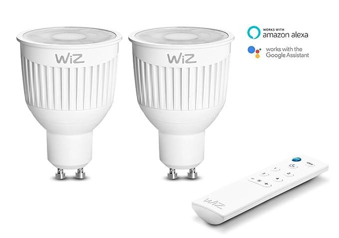 2-Pack Bombillas LED WiZ Inteligente con Conexión WiFi, Casquillo GU10, luz Blanca