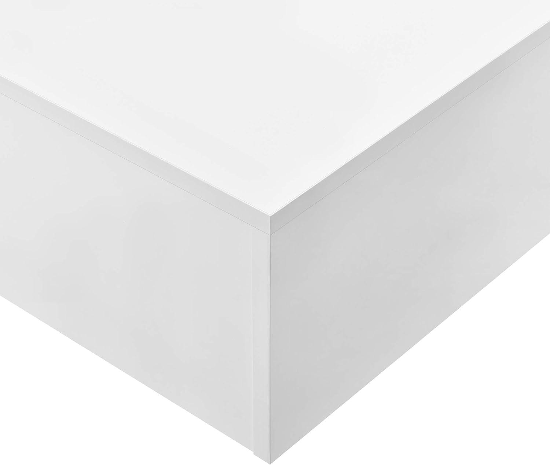 Tavolino Basso da Salotto//Soggiorno 85 x 55 x 31 cm Tavolino da caff/è en.casa Bianco