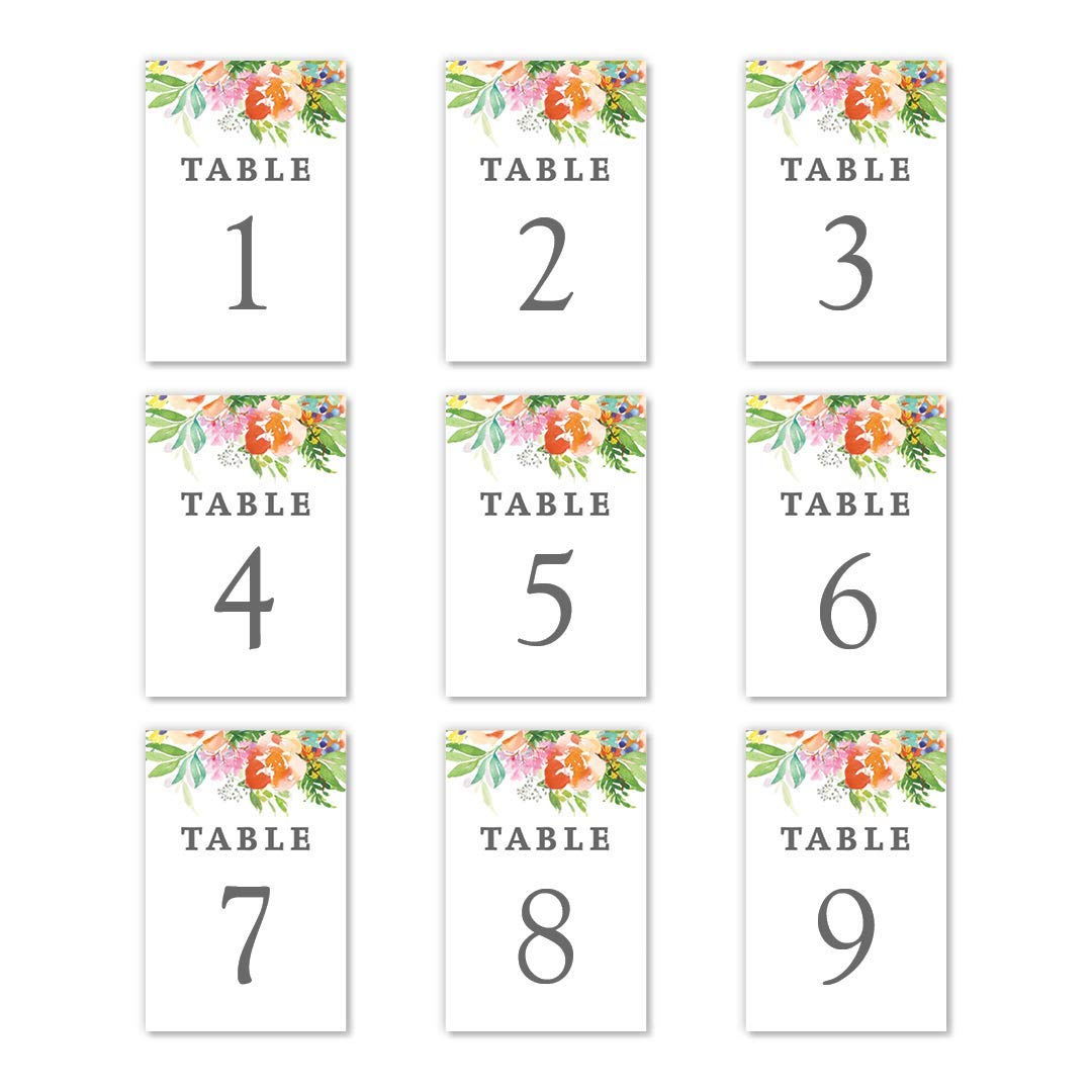 Watercolor Flowers Table Numbers 25 Pack Reserved Seats Single Sided 4 x 6 Orange-Red Floral Centerpiece Accessories Bridal Shower Rehearsal Dinner After-Parties Catered Dining Event DB Party Studio