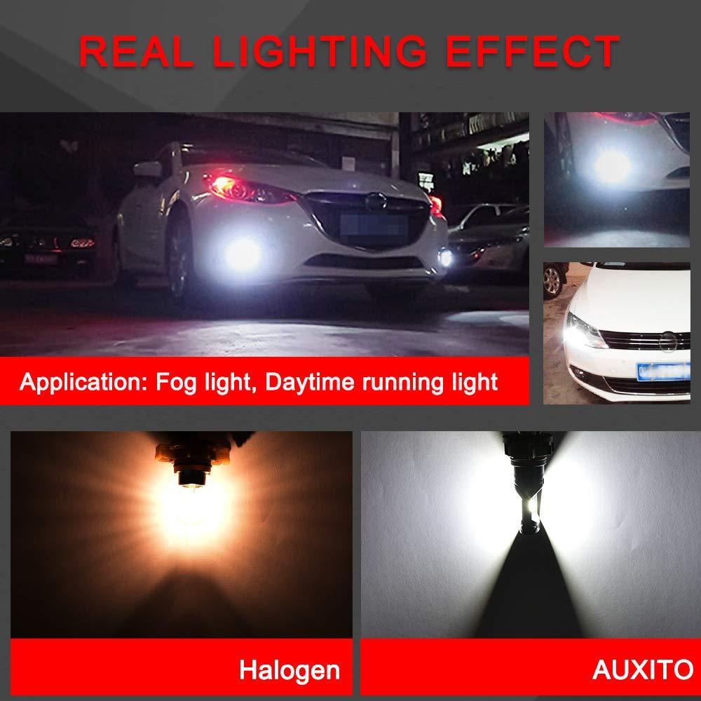 AUXITO 2504 LED Fog Light Bulb PSX24W LED Bulbs 1:1 Halogen Bulb Design with Super Bright CSP Chips for Fog Lights or DRL Pack of 2 6000K Cool White