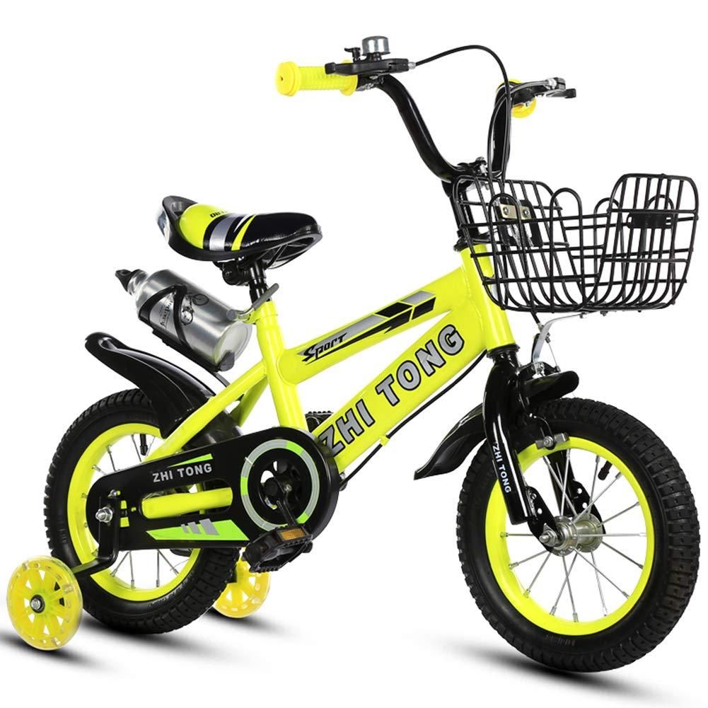 1-1 Niños Bicicleta Altura Ajustable Destello Ruedas de PU Bicicleta de montaña Doble Freno Niño Niña La Seguridad Mojadura 16 Pulgadas,Yellow