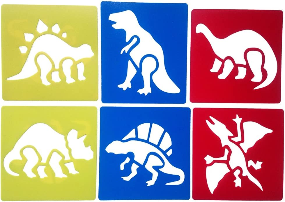 Mike Home 6 Piece Assorted Color Drawing Painting Stencils Templates for Kids (Dinosaur)