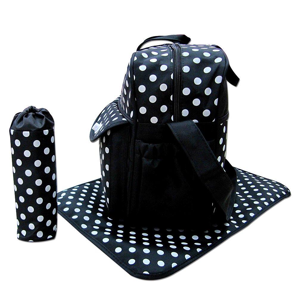 3 Teile Wickeltasche Windelwechsel-Tasche in schwarz E:Polka Dot Babytasche