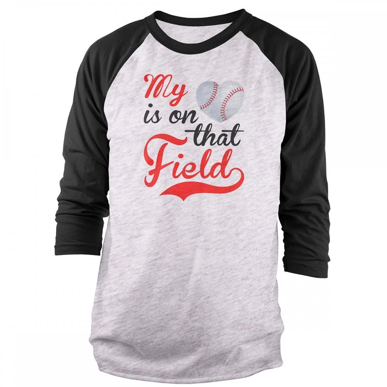 Vine Fresh Tees - My Heart Is On That Field - Baseball 3/4 Sleeve Raglan T-shirt
