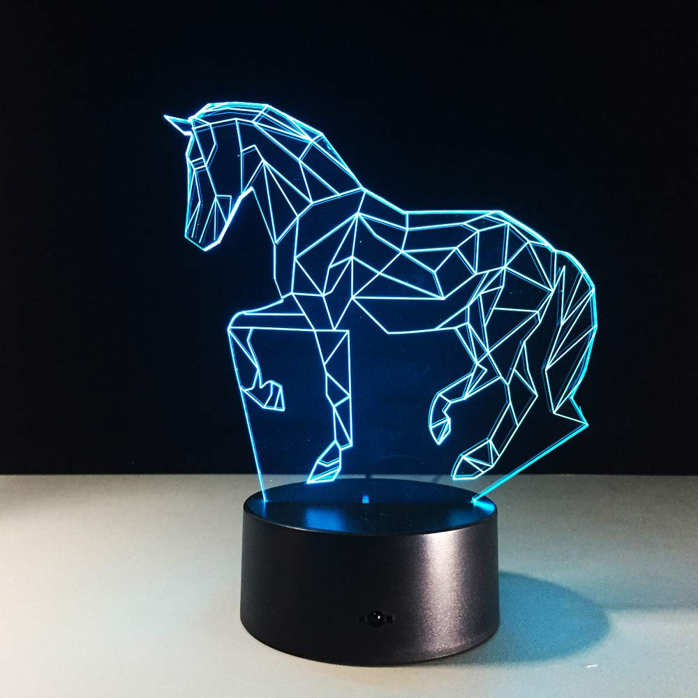 BFMBCHDJ Lámpara de mesa creativa para caballos 7 colores Lámpara ...