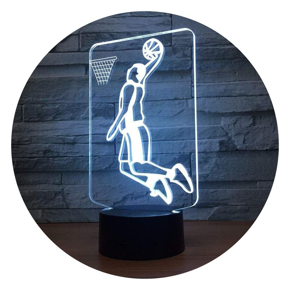 JINXUXIONGDI Visual Stereo Vision Basketball Shooting Led Night Light One-Hand Overhead Shooting Cool Desktop Light 7 Color Change Optical Illusion Night Light Children's Decoration